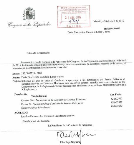 AÑO-2016 COMISIÓN DE PETICONES DEL CONGRESO DIPUTADOS